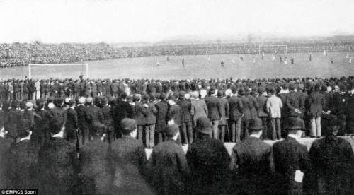 General view of the action from the perspective of one of the 45,000 crowd who assembled at the Fallowfield Ground, Manchester for the 1893 final between Wolves and Everton