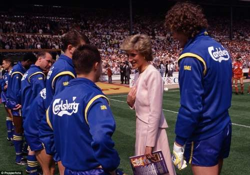 Princess Diana talks to Wimbledon's Dennis Wise watched by Dave Beasant (right) prior to the FA Cup Final against Liverpool at Wembley in 1988