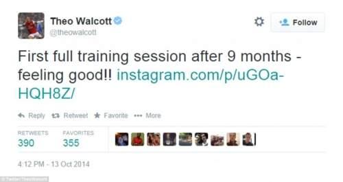 Theo Walcott expressed his relief on Twitter at coming through his first full training session in nine months