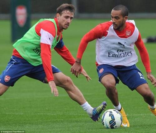 The England forward revelled in his return and posted this picture of him against Nacho Monreal on his personal Instagram account